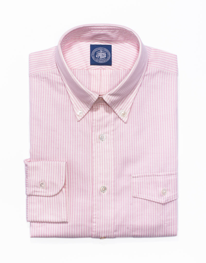 PINK STRIPE OXFORD BUTTON DOWN SHIRT - TRIM FIT