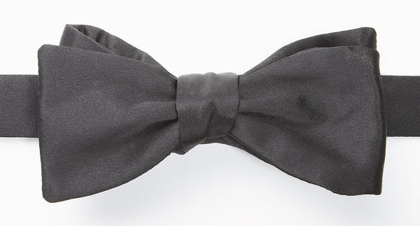 SELF-TIED BOW TIE - BLACK SATIN