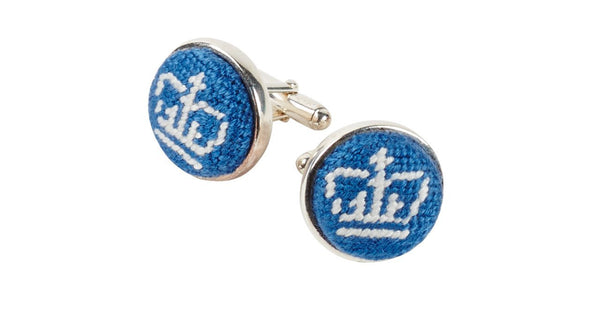 COLUMBIA UNIVERSITY NEEDLEPOINT CUFFLINKS