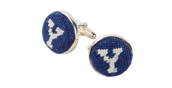 YALE UNIVERSITY NEEDELEPOINT CUFFLINKS