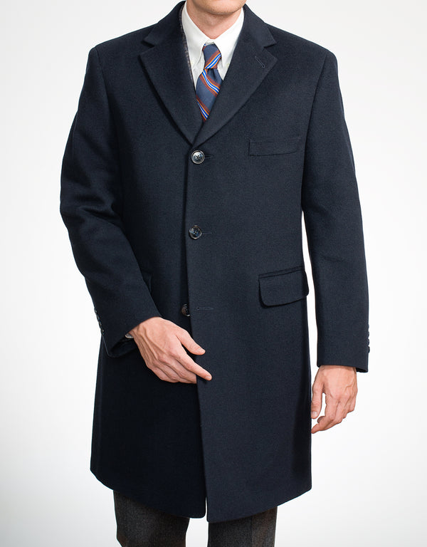 NAVY WOOL TOP COAT