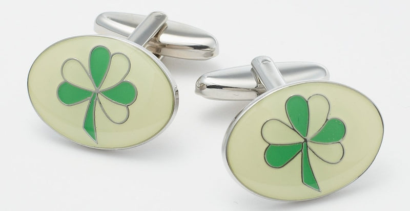 IRISH SHAMROCK CUFFLINKS - SILVER
