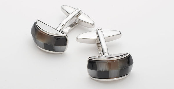 STONE CUFFLINKS - SILVER/BROWN