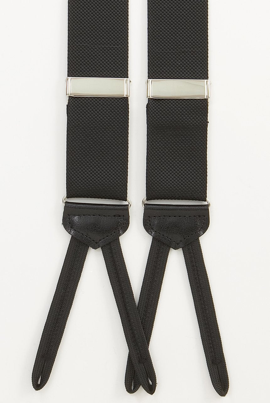 FORMAL BRACES - BLACK SATIN WITH SILVER BUCKLES