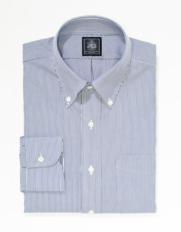 NON IRON NAVY MICRO STRIPE PINPOINT DRESS SHIRT
