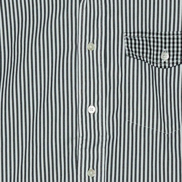 HIGH COUNT GINGHAM X STRIPE BUTTON DOWN SHIRT- DARK NAVY
