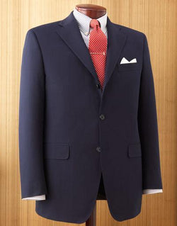 NAVY SOLID COTTON SUIT - CLASSIC FIT