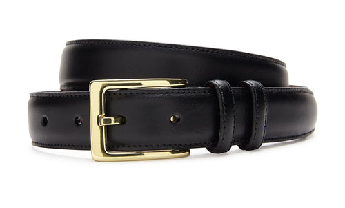 ITALIAN VEAL BELT - BLACK WITH GOLD