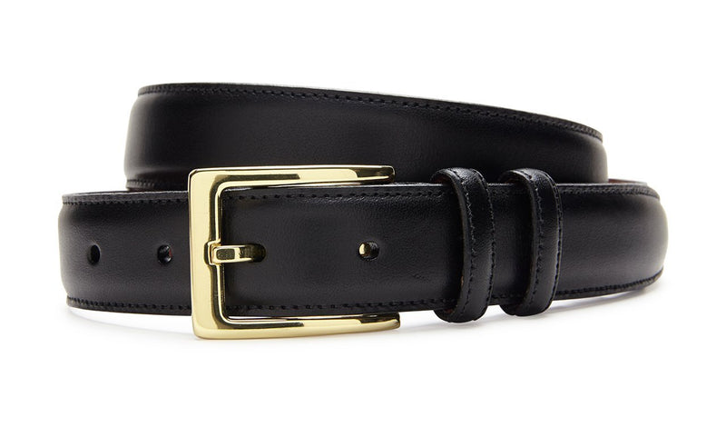 Men's Italian Veal Belt Black With Gold