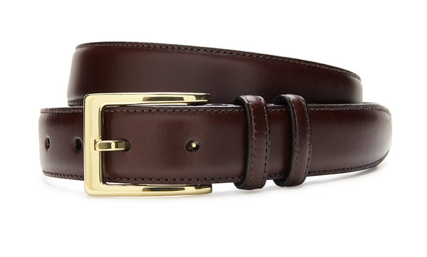 ITALIAN LEATHER BELT - BROWN WITH GOLD