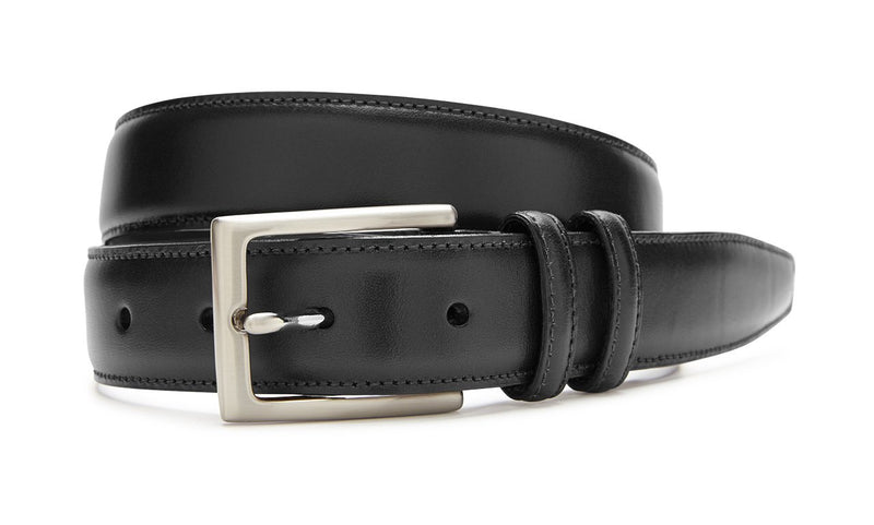 ITALIAN LEATHER BELT - BLACK WITH SILVER
