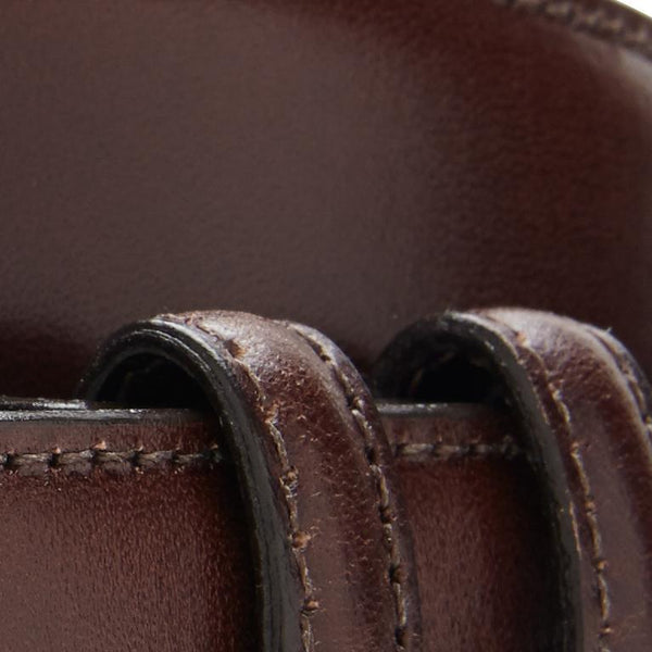 ITALIAN LEATHER BELT - BROWN WITH SILVER