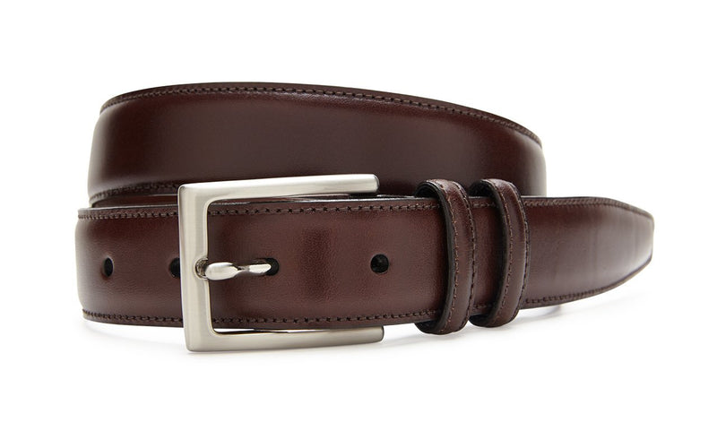 Men's Italian Veal Belt Brown With Silver