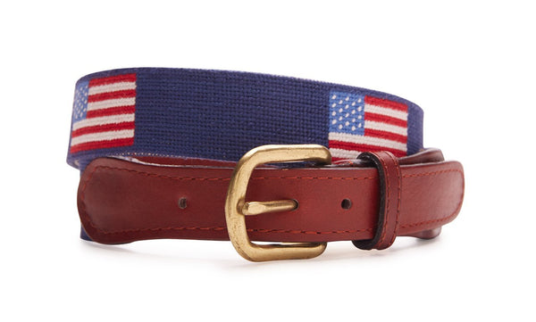 UNITED STATES FLAG NEEDLEPOINT BELT