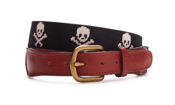 NEEDLEPOINT BELT SKULL AND CROSSBONES - BLACK