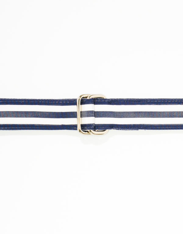 RIBBON BELT -NAVY/WHITE