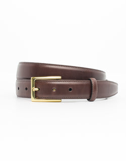 BROWN WITH GOLD ITALIAN LEATHER BELT
