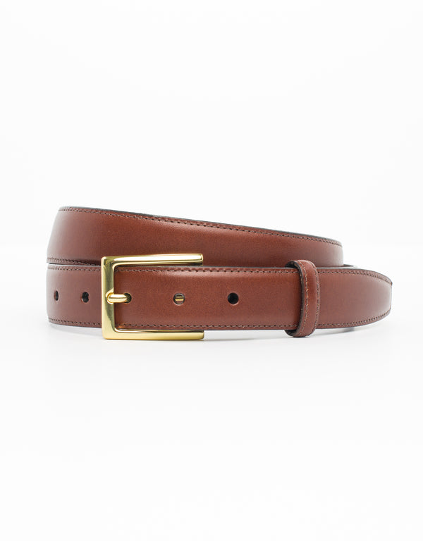 COGNAC WITH GOLD ITALIAN LEATHER BELT