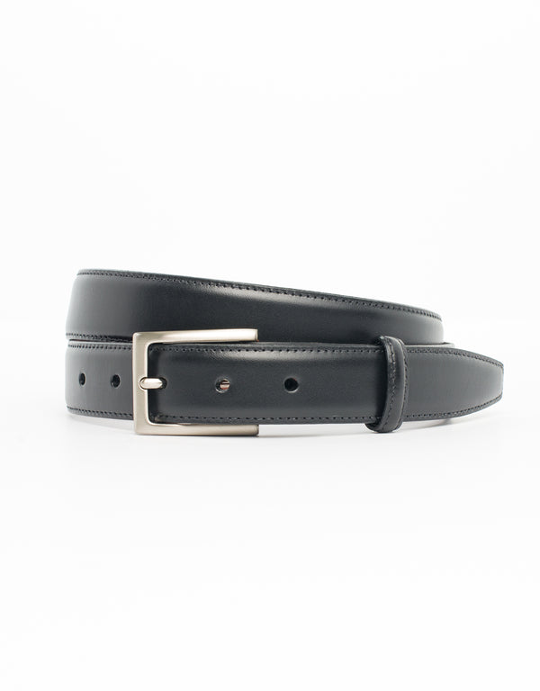 BLACK WITH SILVER ITALIAN LEATHER BELT