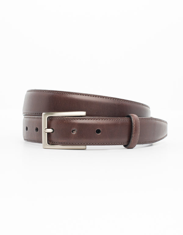 BROWN WITH SILVER ITALIAN LEATHER BELT