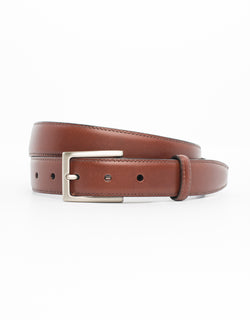 COGNAC WITH SILVER ITALIAN LEATHER BELT