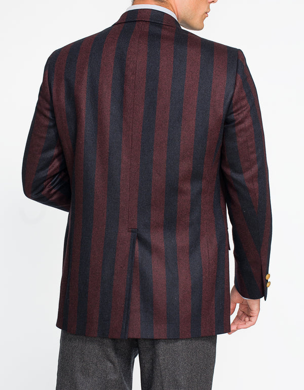 NAVY BURGUNDY STRIPE SPORT COAT - CLASSIC FIT