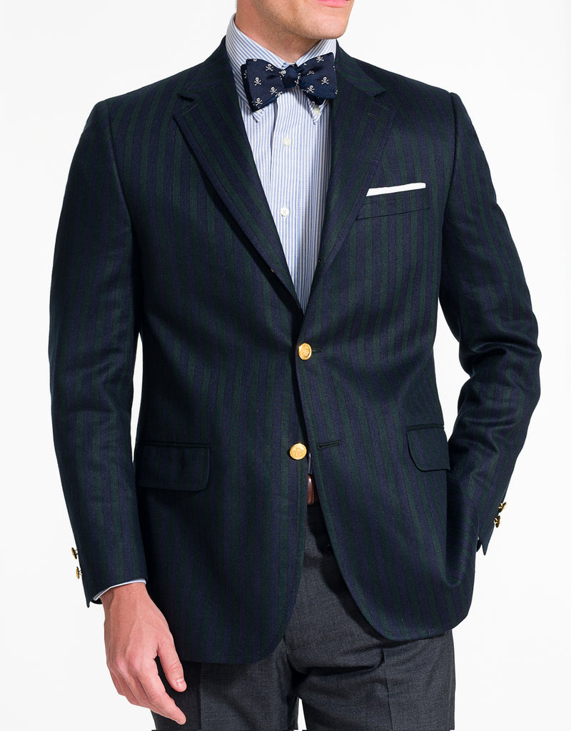 J. PRESS NAVY GREEN STRIPE SPORT COAT - CLASSIC FIT