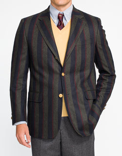 NAVY GREEN STRIPE SPORT COAT - CLASSIC FIT