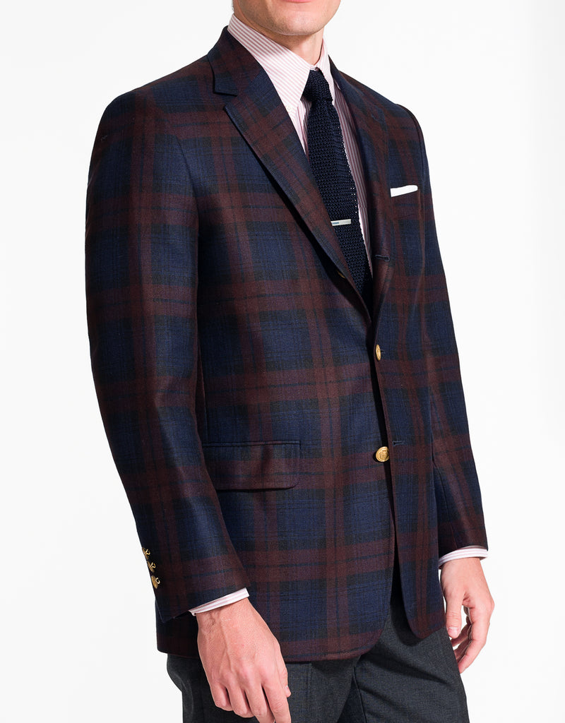 J. PRESS BURGUNDY NAVY PLAID SPORT COAT - CLASSIC FIT
