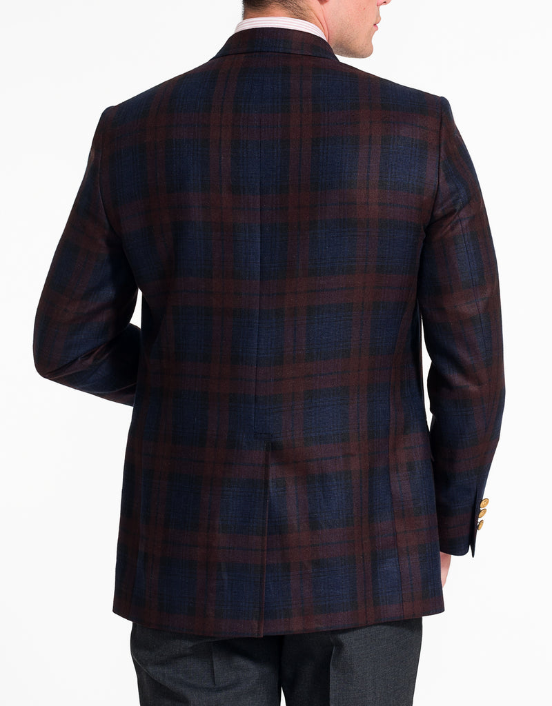 BURGUNDY NAVY PLAID SPORT COAT - CLASSIC FIT