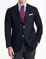 Trim Fit Navy Wool Button Blazer