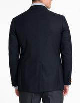 Men's Navy Wool Button Blazer