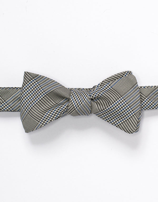 SILK GLEN CHECK BOWTIE - BLUE/BLACK