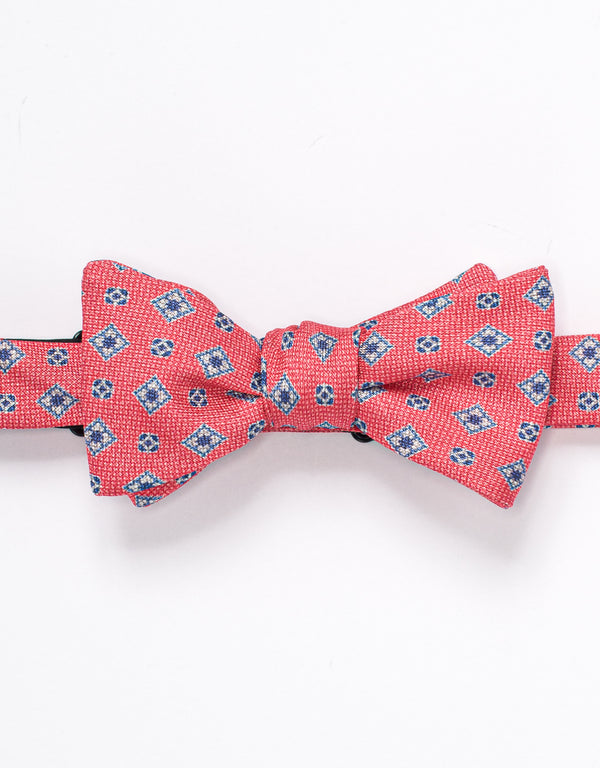LINEN FOULARD BOW TIE - RED