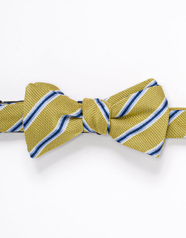 SILK STRIPE BOWTIE - YELLOW/BLUE/WHITE