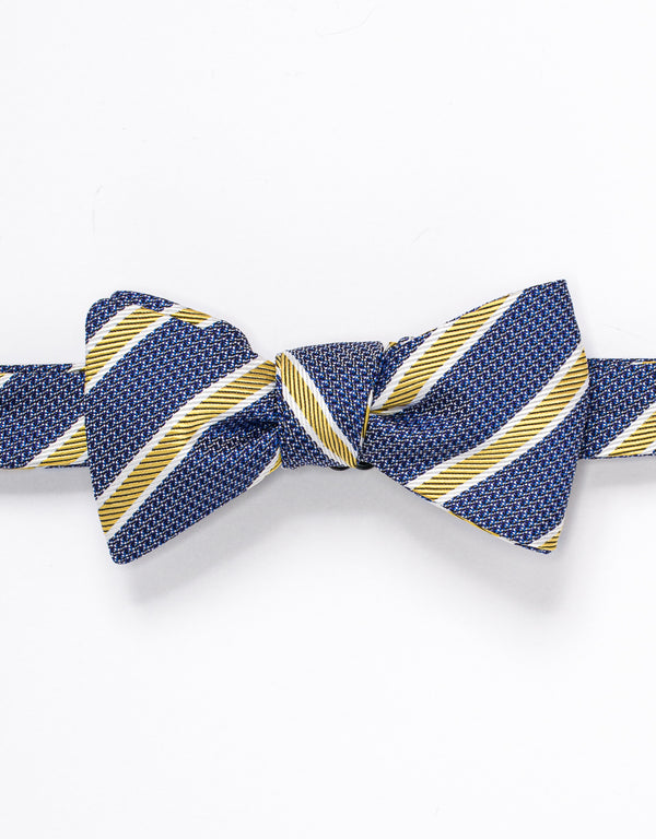 SILK STRIPE BOWTIE - NAVY/GOLD