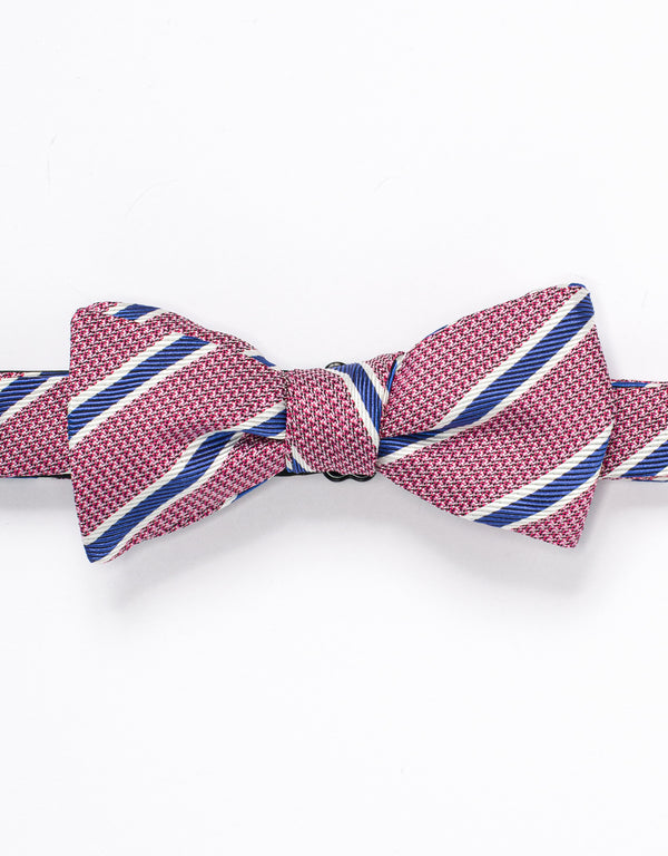 SILK STRIPE BOWTIE - RED/BLUE