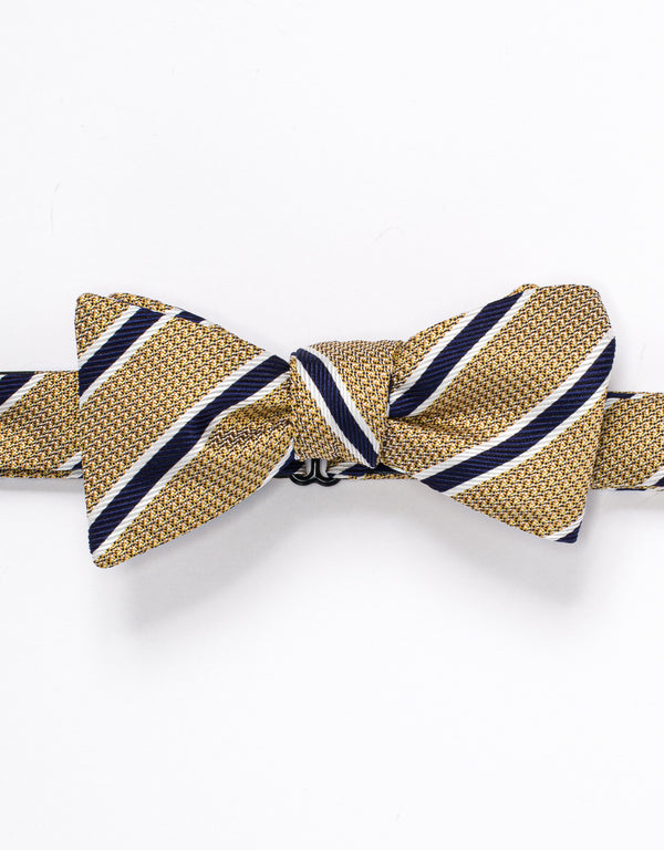 SILK STRIPE BOWTIE - YELLOW/NAVY
