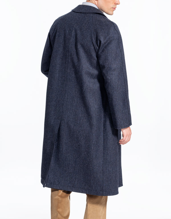 NAVY HERRINGBONE REVERSIBLE COAT