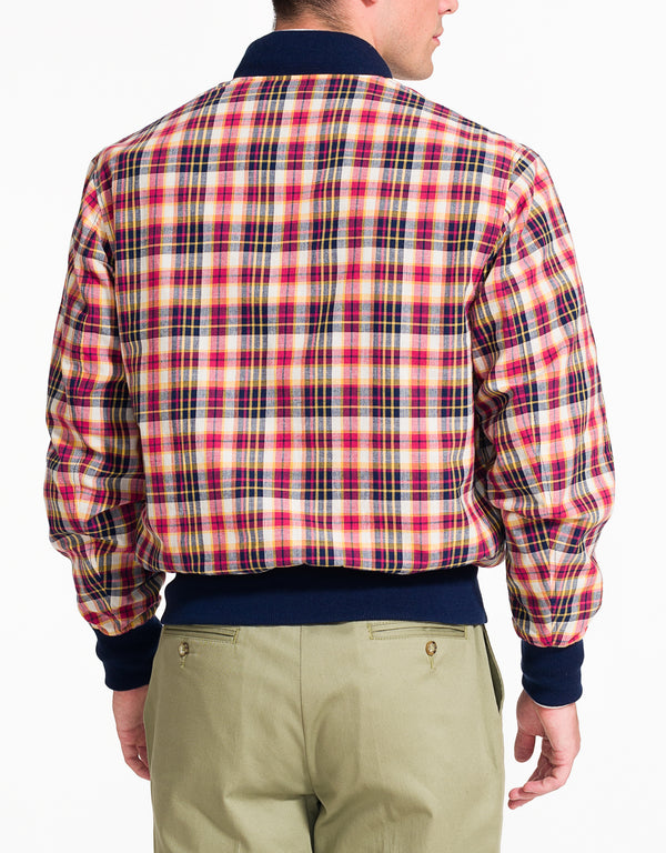 J. PRESS X GOLDEN BEAR MADRAS BOMBER JACKET- WHITE/NAVY/RED