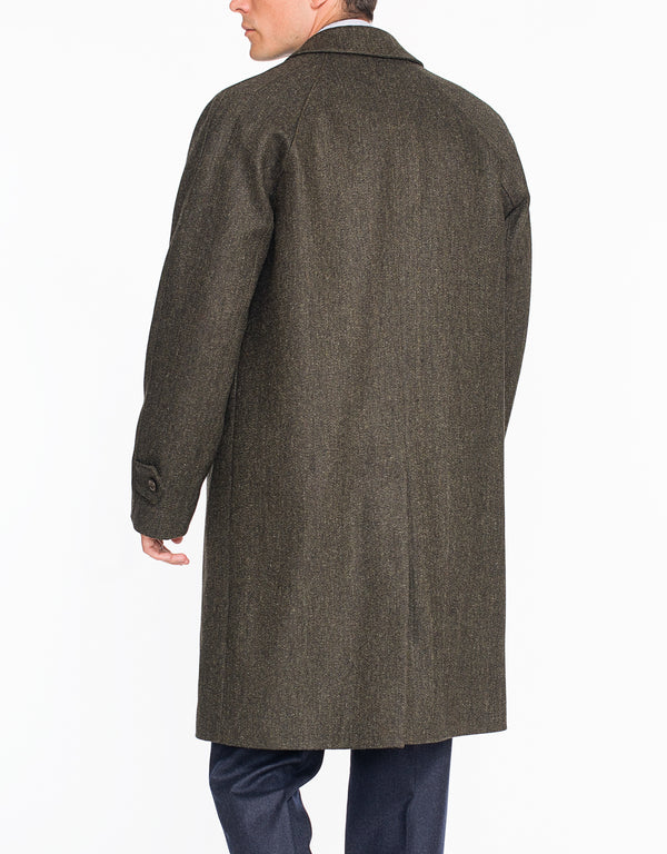 BROWN HERRINGBONE RAGLAN TOP COAT