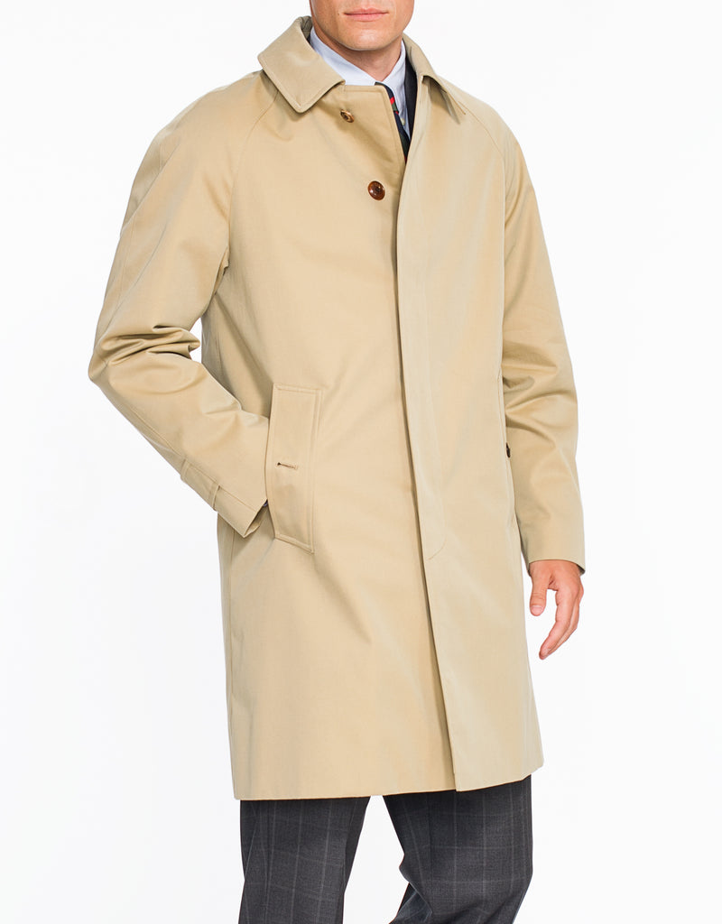 J. PRESS X GRENFELL TAN COTTON RAINCOAT - SHORT