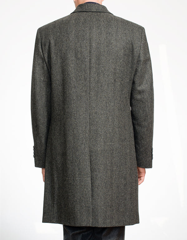 CHARCOAL HERRINGBONE FLY FRONT WOOL TOP COAT