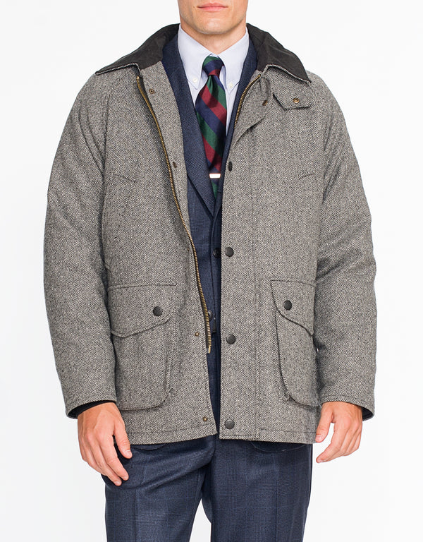 GREY HERRINGBONE FIELD COAT