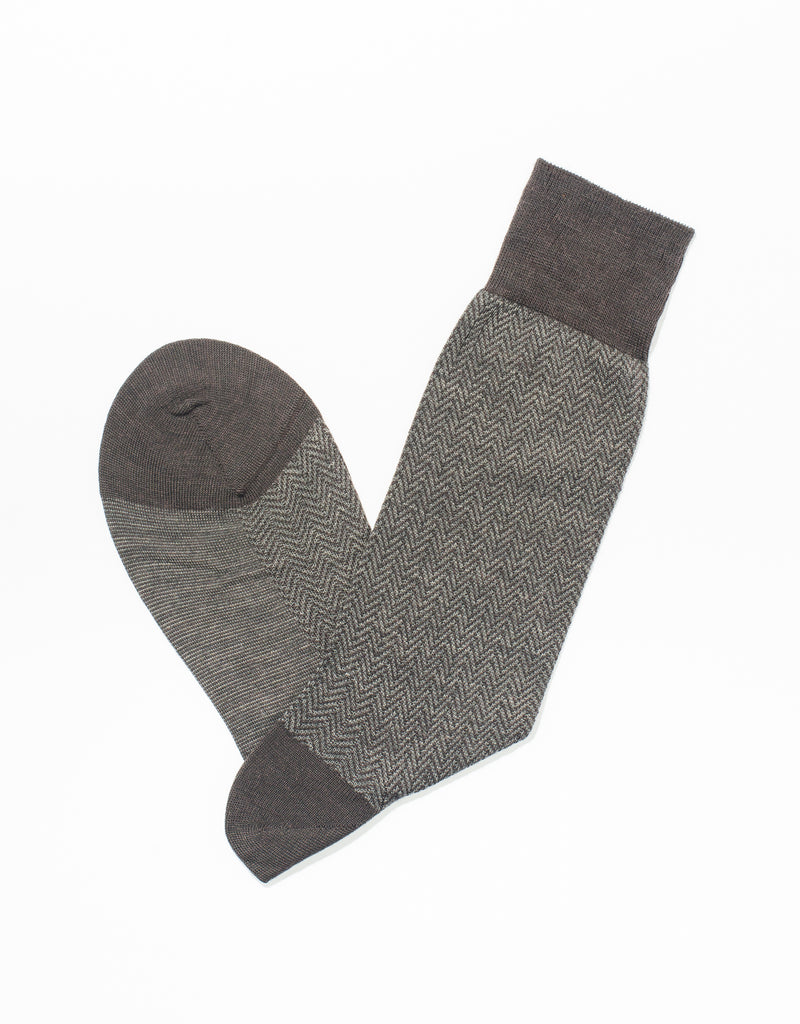 BROWN HERRINGBONE SOCKS