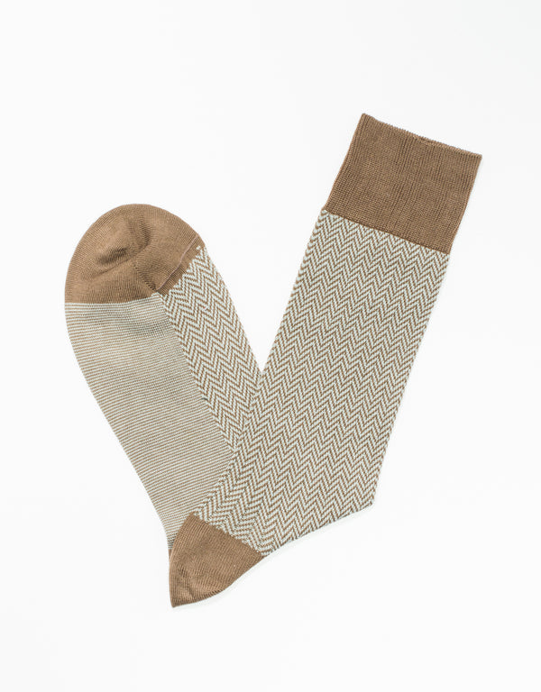BROWN COTTON HERRINGBONE SOCKS
