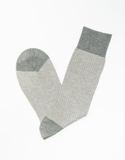 GREY COTTON HERRINGBONE SOCKS