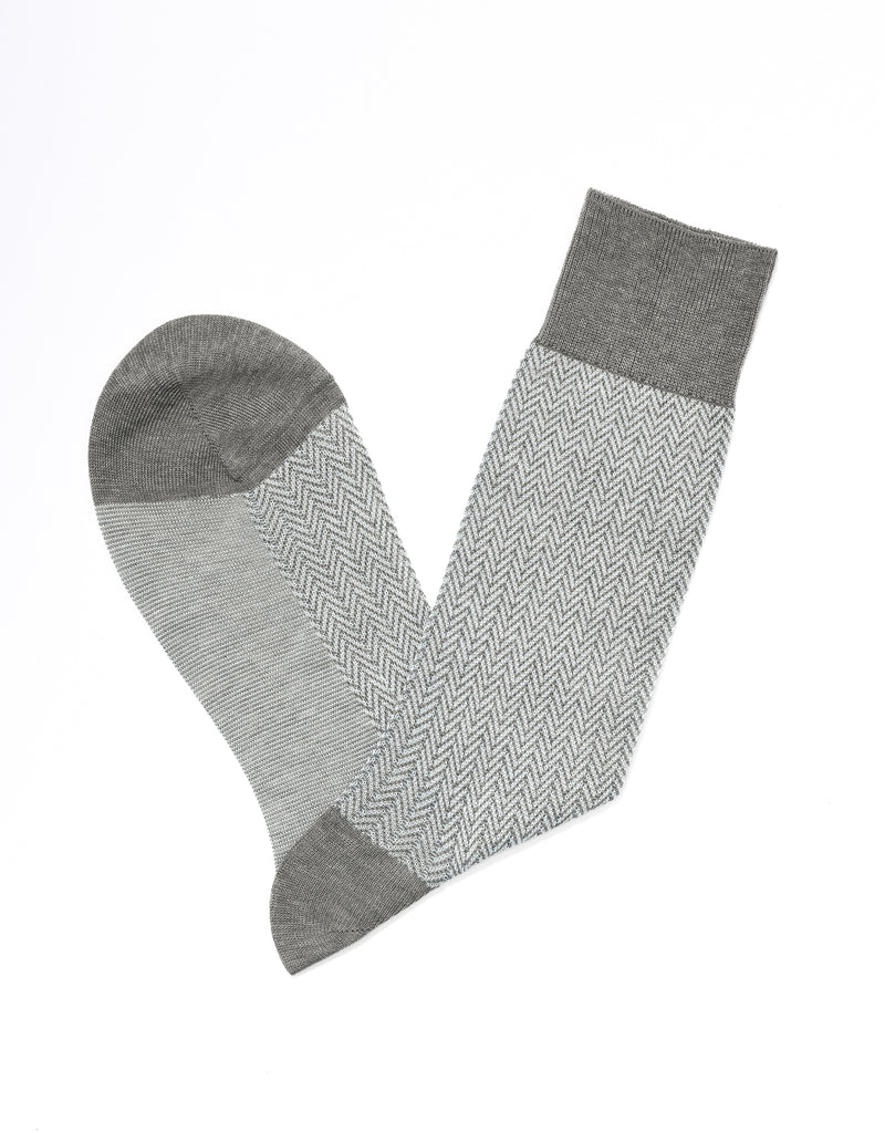 HERRINGBONE SOCKS - GREY