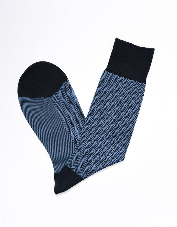 J. PRESS HERRINGBONE SOCKS - NAVY