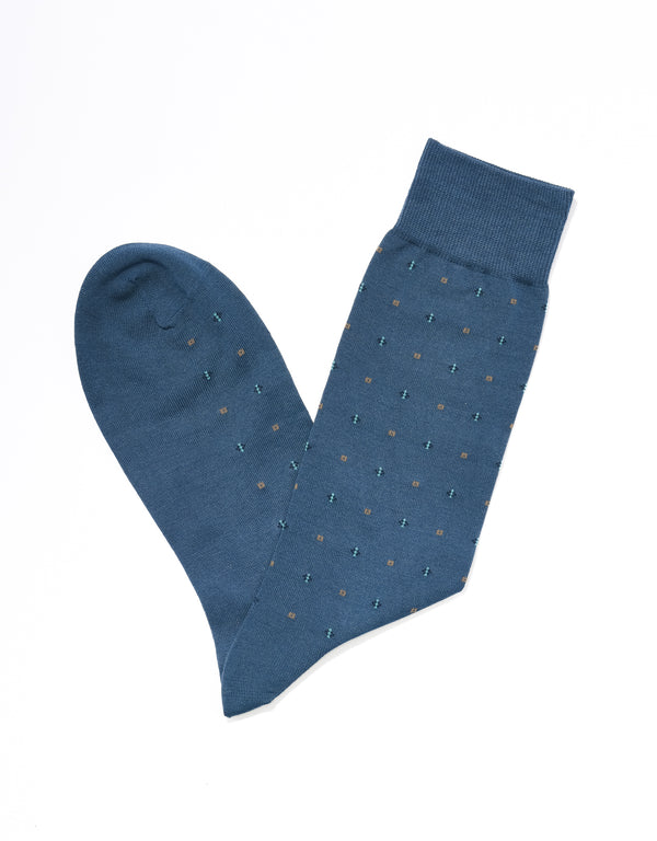 J. PRESS NEAT MOTIF SOCKS - BLUE